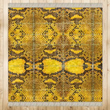 499,- Feinster #ninibing34 schimmernder Samt Teppich im klassischen Animal Print Look einer südafrikanischen Schlange 128 x 128 cm