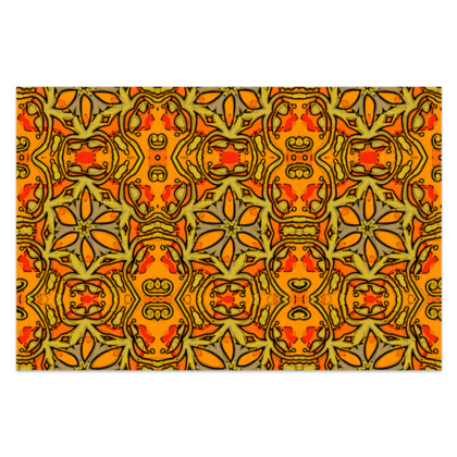 "Funky Orange, Yellow Red Star - Sarong #1 - Classic Long - 66'x44"" (167cmx110cm)"