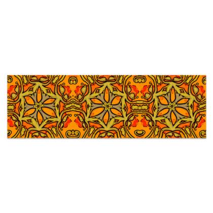 "Funky Orange, Yellow Red Star - Sarong #4 - Plus Half - 76'x24"" (193cmx60cm)"