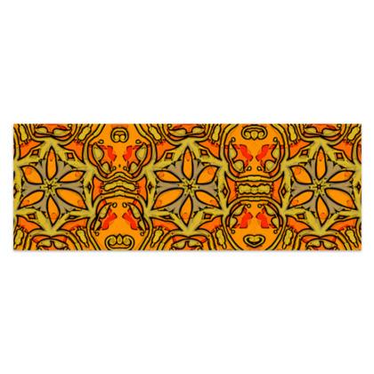 "Funky Orange, Yellow Red Star - Sarong #3 - Classic Half - 66'x24"" (167cmx60cm)"