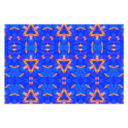 "Blue and Orange Floral - Sarong #1 - Classic Long - 66'x44"" (167cmx110cm)"