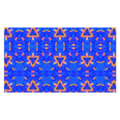 "Blue and Orange Floral - Sarong #2 - Plus Long - 76'x44"" (193cmx110cm)"