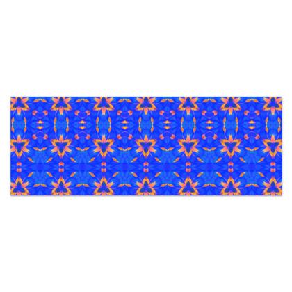 "Blue and Orange Floral - Sarong #4 - Classic Half - 66'x24"" (167cmx60cm)"