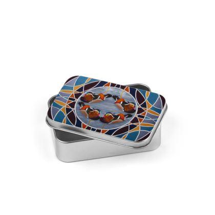 Mandarin Duck Design Silver Tin