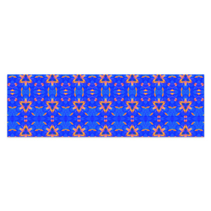 "Blue and Orange Floral - Sarong #3 - Plus Half - 76'x24"" (193cmx60cm)"