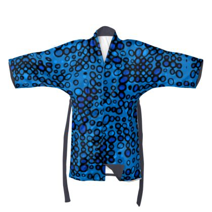 Dark Blue Funky Spots - Kimono/Robe