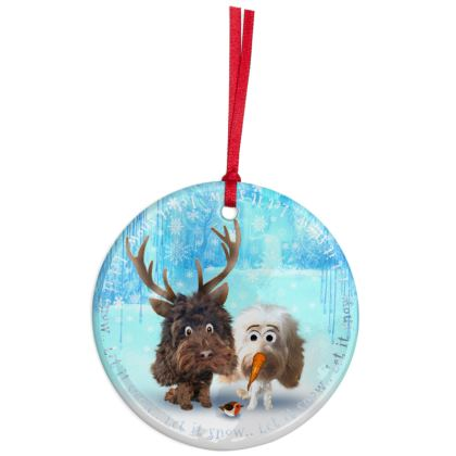 CERMAMIC Let it snow Christmas Ornaments