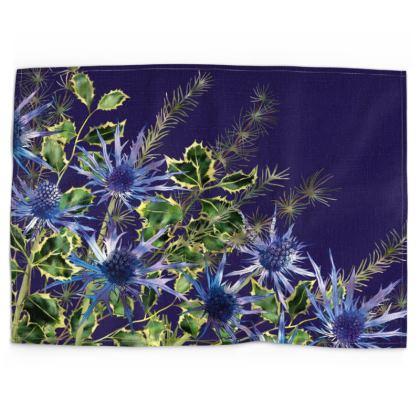 Midnight Holly Bouquet Tea Towel