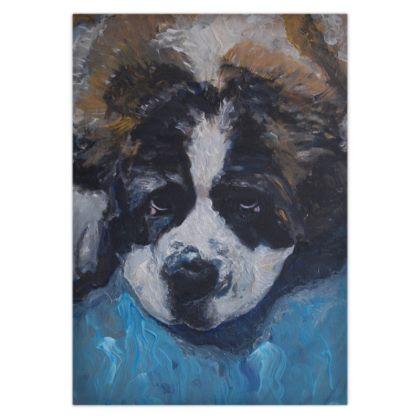 Mr Monkie Puzzle the Saint Bernard Fine Art Print Duvet Cover by Somerset UK Artist and Designer Amanda Boorman