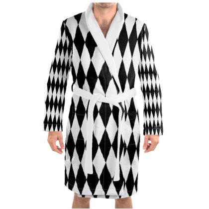 Dressing Gown Black And white Diamonds