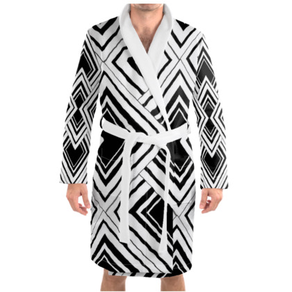 Art Deco Design Black And White Dressing Gown