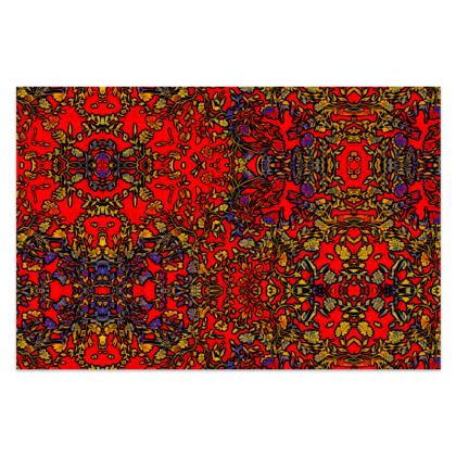 """Rich Red, Yellow and Blue Floral Sarong - Classic Long - 66'x44"""" (167cmx110cm)"""