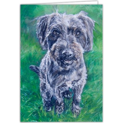Personalised Poppy the Jack-a-poo Fine Art Occasions Card by Somerset (UK) Artist Amanda Boorman