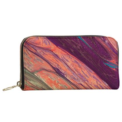 On the Edge of the Volcano Leather Zip Purse