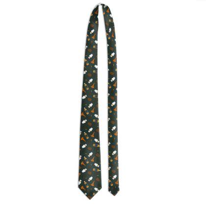 Whisky Pattern Tie in Dark Green