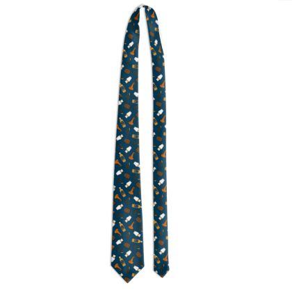 Whisky Pattern Tie in Dark Blue