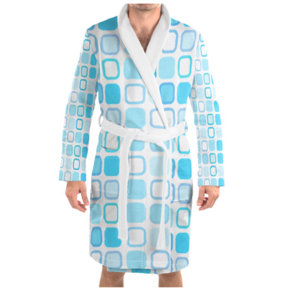 Retro Art Design Blue Dressing Gown