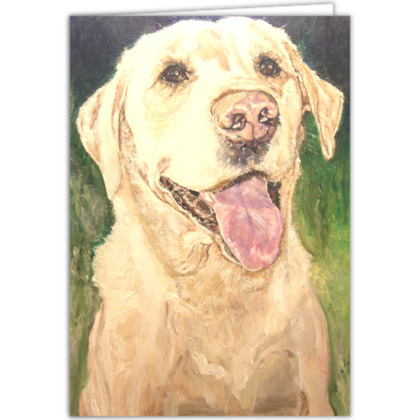 Personalised Biscuit the Golden Labrador Retriever Fine Art Occasions Card by Somerset (UK) Artist Amanda Boorman