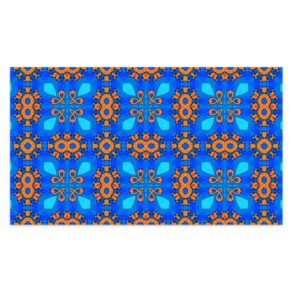 "Vibrant Blue and Orange floral Geometric Sarong Plus Long - 76'x44"" (193cmx110cm)"