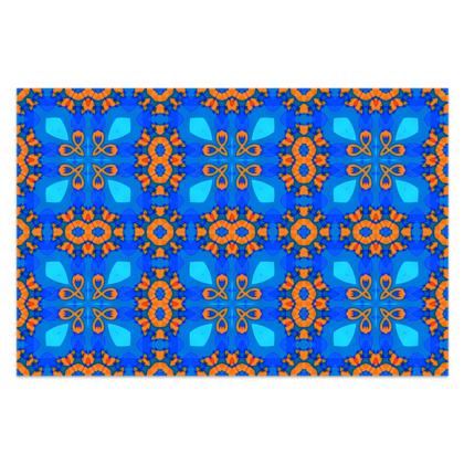 "Vibrant Blue and Orange floral Geometric Sarong Classic Long - 66'x44"" (167cmx110cm)"
