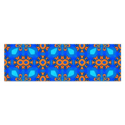 "Vibrant Blue and Orange floral Geometric Sarong Plus Half - 76'x24"" (193cmx60cm)"