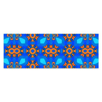 "Vibrant Blue and Orange floral Geometric Sarong Classic Half - 66'x24"" (167cmx60cm)"