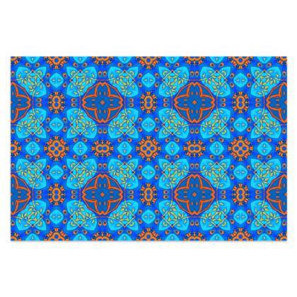 "Blue and Orange floral Geometric Sarong Classic Long - 66""x44"" (167cmx110cm)"