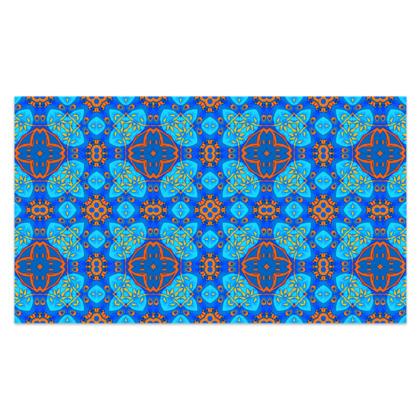 "Blue and Orange floral Geometric Sarong Plus Long - 76""x44"" (193cmx110cm)"