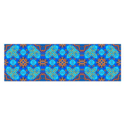 "Blue and Orange floral Geometric Sarong Plus Half - 76""x24"" (193cmx60cm)"