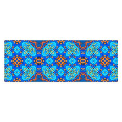 "Blue and Orange floral Geometric Sarong Classic Half - 66""x24"" (167cmx60cm)"
