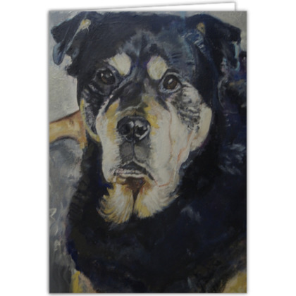 Personalised Xena the Rottweiler Fine Art Occasions Card by Somerset (UK) Artist Amanda Boorman