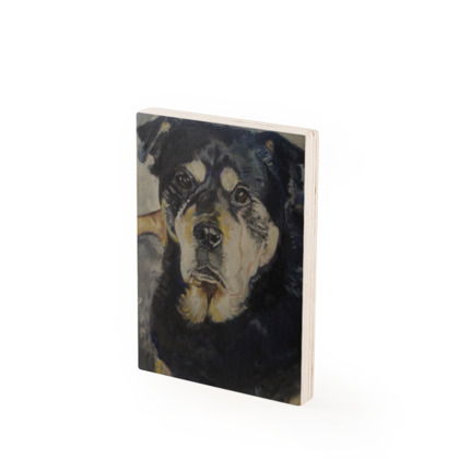 Xena the Rottweiler Vintage Style Fine Art Wood Print by (UK) Somerset Artist Amanda Boorman
