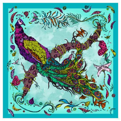 Penelopy Peacock Cushion in blue