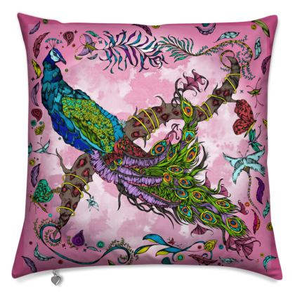 Penelopy Peacock cushion in pink