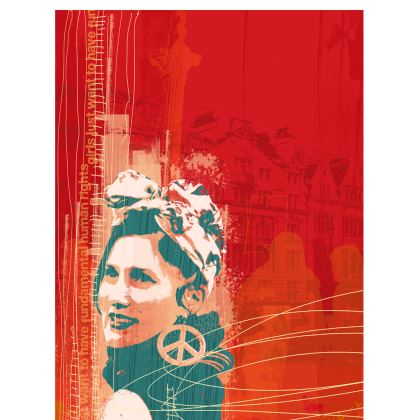 "Ladies T Shirt - ""Women's Power"" in Red"