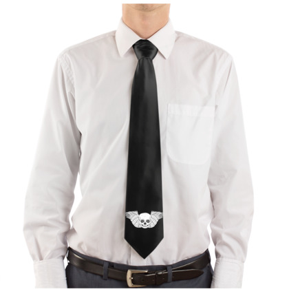 Skull With Wings Fantasy Art Design Black Tie