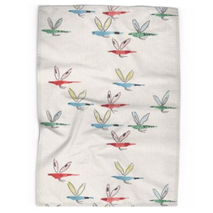 Linen & Cotton Tea Towel Buzzy bird