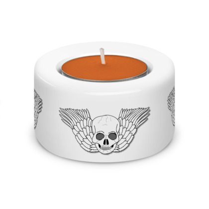 Skull With Wings Fantasy Art Design Tea Light Holder (x2)