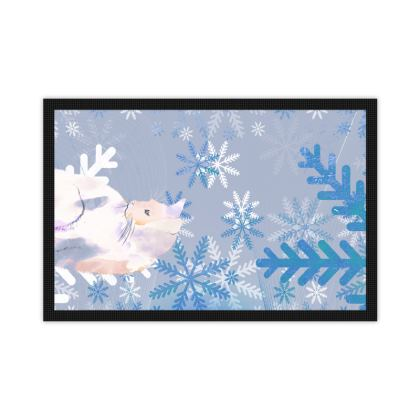 Watercolor kitten and pastel blue snowflakes