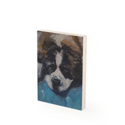 Mr Monkie Puzzle the St Bernard Vintage Style Fine Art Wood Print by Somerset (UK) Artist Amanda Boorman