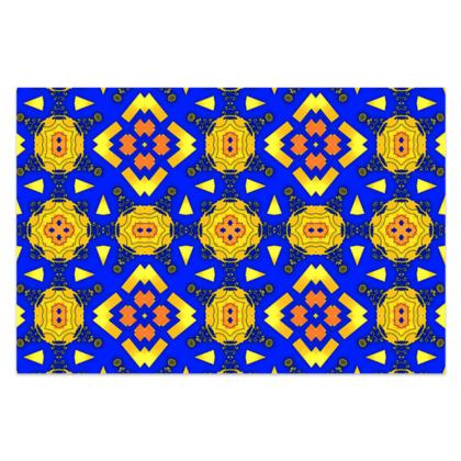 "Yellow, Blue and Orange Sarong Classic Long - 66""x44"" (167cmx110cm)"