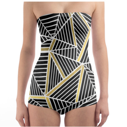 Strapless Swimsuit - Ab Lines Gold