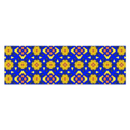 "Yellow, Blue and Orange Sarong Plus Half - 76""x24"" (193cmx60cm)"