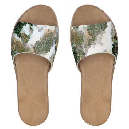 Womens Leather Sliders Hex Design