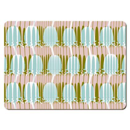 Teasel Stripe Large Placemats - Khaki/Mint