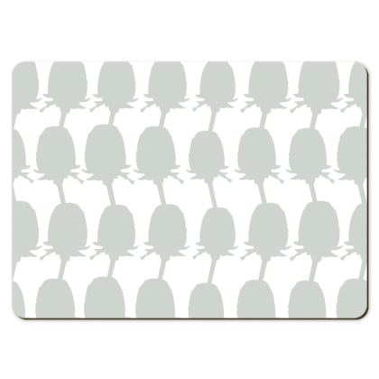 Geo Teasel Large Placemats- Grey