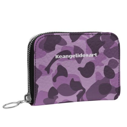Purple Camo Black Small Leather Zip Purse