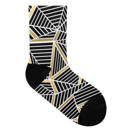 Abstraction Lines Gold Socks