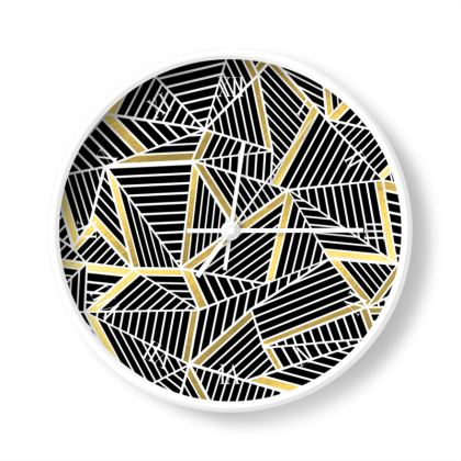 Abstraction Lines Gold Wall Clocks