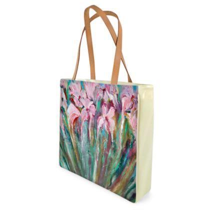 Pink Irises Shopper Beach Bag by Alison Gargett - Design One Side